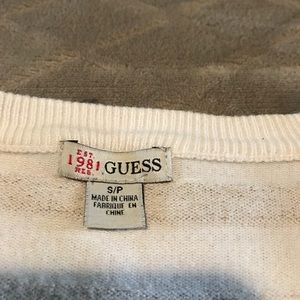 Guess Sweaters - Guess Women's White Sparkly Gold Small Sweater
